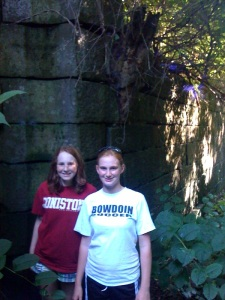 Emily Tichonuk and Molly Dunphy posing at one of the old Champlain Canal Locks
