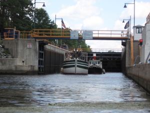 The Lois McClure exiting a lock