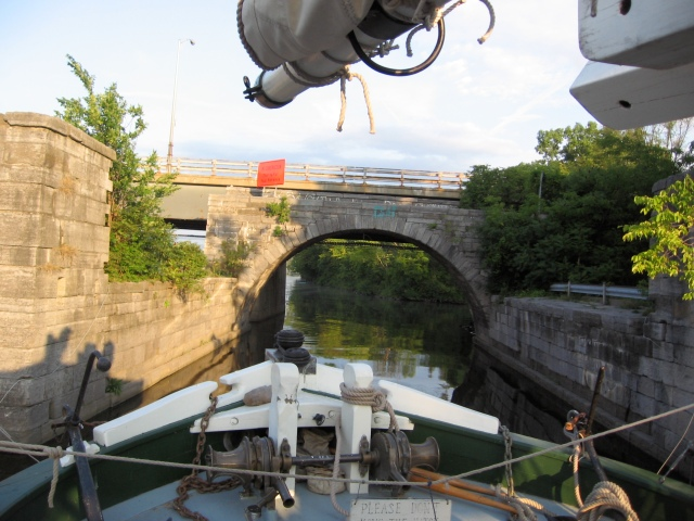The Lois docked in front of the remnants of the Rexford Aqueduct at the Schenectady Yacht Club