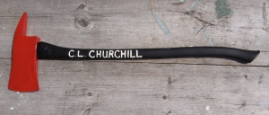 C.L. Churchill's freshly painted new fire axe
