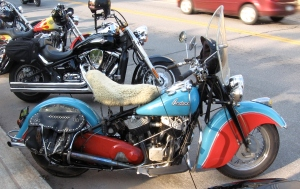 An Indian motorcycle at Sylvan Beach