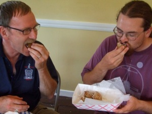 Kent and Tom dig into deep fried Oreos