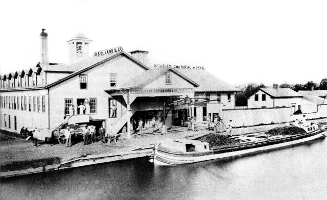 A canal boat at the DeLand Chemical Factory