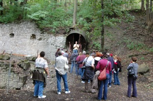Tour group waiting to enter the Lockport Caves