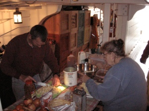 Leo Straight and Barbara Bartley hard at work on apple cheddar soup