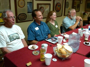 The crew enjoying dinner at the Alling Coverlet Museum
