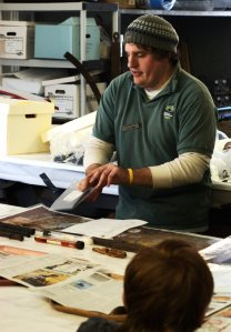 Alex shows the types of materials that are able to be conserved in the lab.