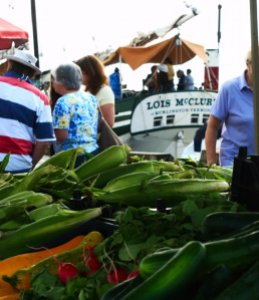 A view of the Lois McClure from a farmstand at the Historic Market