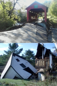 Damage in Vermont - top Northfield Falls Covered Bridge; bottom Damage in Bethel