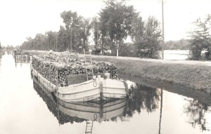 Lumber boat in the Chambly Canal