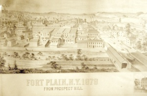 Fort Plain in 1879, showing the canal going through town