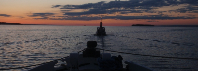 View from the bow of Lois heading out onto Lake Oneida (photo: Jeff Gorss)