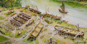 A detailed view of a painting by Ernie Hass depicting the shipyard at Vergennes in 1812