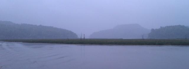 Rain in the Dresden Narrows (photo: Tom Larsen)