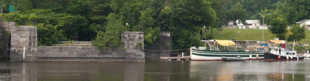 The LOIS MCCLURE docked next to the remains of the Rexford Aqueduct (photo: Tom Larsen)