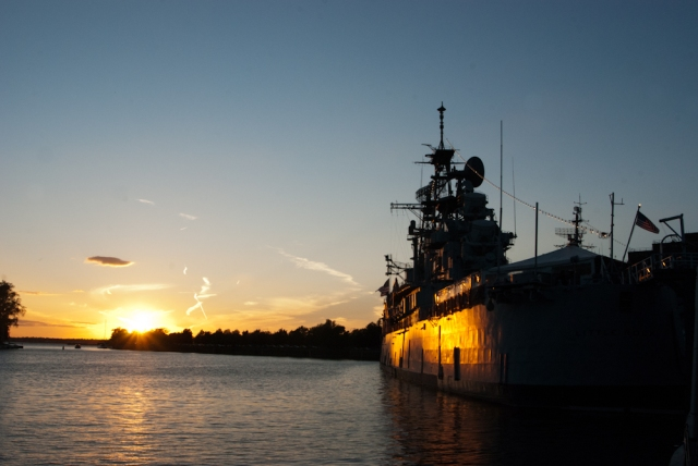 Sunset on the USS LITTLE ROCK in Buffalo Harbor (photo: Tom Larsen)