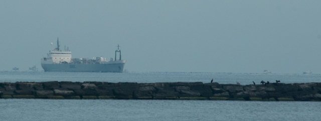 A large freighter coming to the port of Oswego (photo: Tom Larsen)