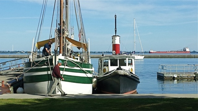 The MCCLURE as a sailboat again, with a freighter in the background (photo: Kent Strobel)