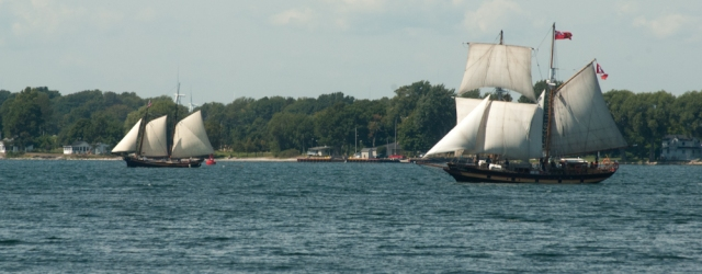 LA REVENANTE (left) and the ST LAWRENCE II heading out from Cape Vincent (photo: Tom Larsen)