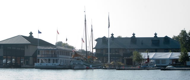 The schooner docked at the Antique Boat Museum (photo: Tom Larsen)