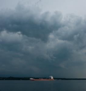 Freighter running before the storm (photo: Tom Larsen)